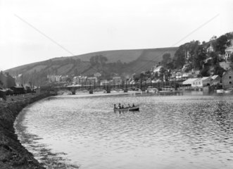 Estuary of the River Looe at Looe  Cornwall  1922.