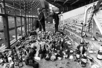 Clearing up after a Scotland football match  October 1977.