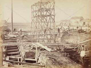 Construction of Gloucester Road Station  London  c 1867.