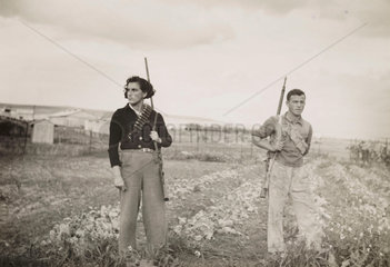 Israeli settlers from a village near the River Jordan  c 1935.
