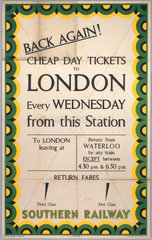'Back Again! Cheap Day Tickets to London'  SR poster  1939.