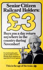 'Senior Citizen Railcard Holders'  poster  1982.