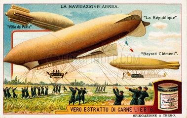Three French airships  Liebig trade card  c 1910.