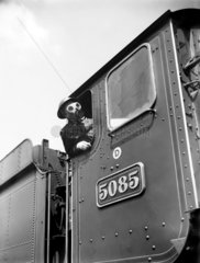 Train driver with a gas mask  World War Two  21 August 1940.