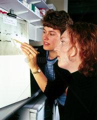 Molecular geneticists studying an autoradiograph  London  May 2000.