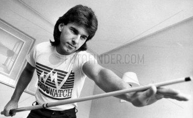 Kirk Stevens  Canadian snooker player  Derby  September 1985.