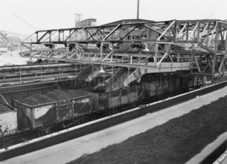 Steel coal wagons being filled at a colliery  c 1960s.