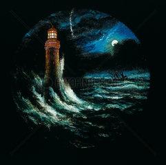 Eddystone Lighthouse  hand-coloured magic lantern slide  19th century.