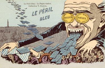 'Le Peril Bleu - Le Papier Timbre'  c 1910.