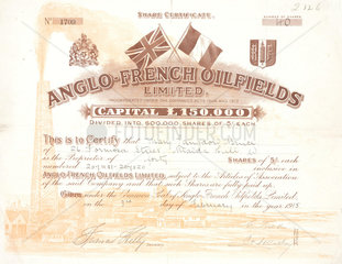 Share certificate for the Anglo-French Oilfield Ltd  1915.