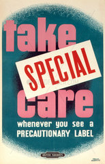'Take Special Care'  BR staff poster  1960.