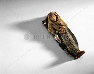 Wax model of a mummy  c 1600-1750.