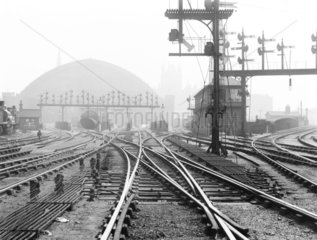 Points and signals at St Pancras Junction  London  c 1900.