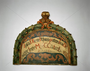 Painted head board from a hospital bed  Austrian  c 17th-18th century.