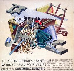 'To your Hobbies  Handiwork Classes  Boy's Clubs'  SR poster  1930s.