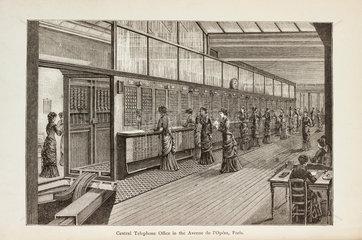 Central telephone office in the Avenue de l'Opéra  Paris  1886.