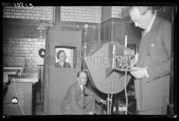 Demonstrating a television signal generator  Science Museum  April 1933.