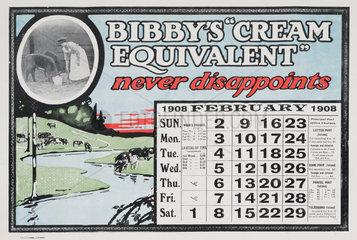 Bibby's 'Cream Equivalent'  calendar  1908.