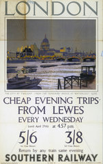 'London - Cheap Evening Trips from Lewes'  SR poster  1937.