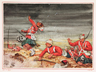 Scottish soldiers at the Battle of Tel-el-Kebir  Egypt  13 September 1882.