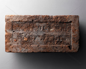 Hand-made brick with 'frog' from Lindsey  Lincolnshire  early 19th century.