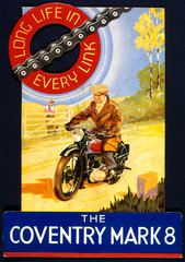'The Coventry Mark 8'  motorcycle chain  poster  c 1930s.