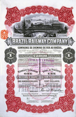 Share certificate of the Brazil Railway Company  1 April 1912.