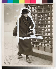 Eleanor Rathbone MP walking down the street  London  22 October 1935.