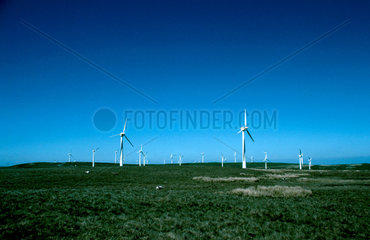 Turbines at a wind farm in Wales  25 June 1997.