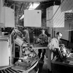 Men on Hoovermatic washing machine production belt  Merthyr  1959.
