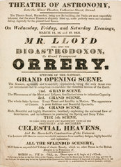 Handbill advertising Mr Lloyd's astronomical lectures  March 1821.