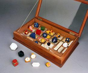Set of chalk crystal models  c 1930s.