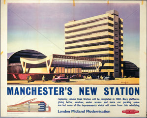 'Manchester's New Station'  British Railways poster  c 1960.