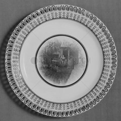 Minton earthenware plate with photo-ceramic centre  1882.