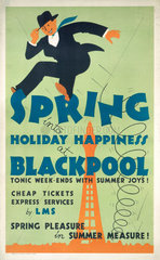 'Spring into Hoilday Happiness at Blackpool'  LMS poster  1923-1947.