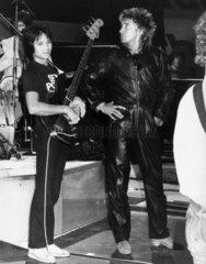 Rod Stewart in rehearsal  Zurich  c 1980s.