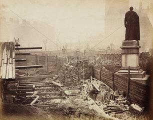 Construction of the Metropolitan District Railway  Westminster  London  c 1867.