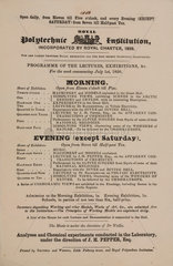 Royal Polytechnic Institution list of lectures  1850.