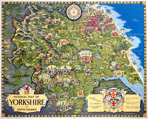 Pictorial Map of Yorkshire  BR poster  1949.
