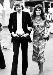 Joanna Lumley with ex-husband Jeremy Lloyd  1973.