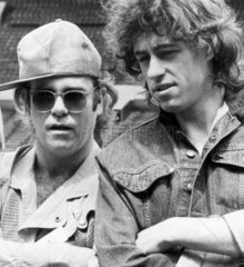 Elton John and Bob Geldof  Live Aid press conference  Wembley  June 1985.