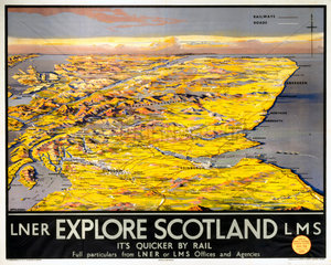 'Explore Scotland - It's Quicker by Rail'  LNER/LMS poster  1923-1947.