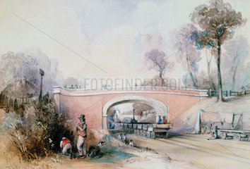 Construction of the Eastern Counties Railway near Ilford  Essex  1838.
