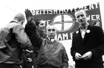 British racist giving the Nazi salute  c 1980.
