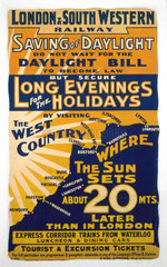 'Saving of Daylight'  LSWR poster  1908.