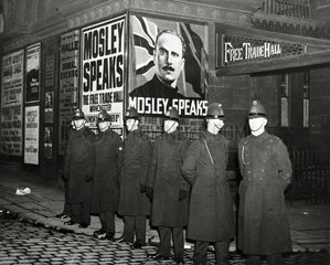 Police at a meeting of Oswald Mosley supporters  1930s.