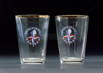 Pair of small glass tumblers  1951.
