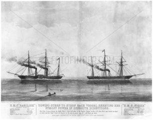 Paddle-wheel steamer 'Basilisk' and screw steamer 'Niger'  1849.