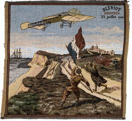 Bleriot arriving at Dover  Kent  25 July 1909.