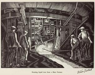 'Running liquid iron from a Blast Furnace'  20th century.